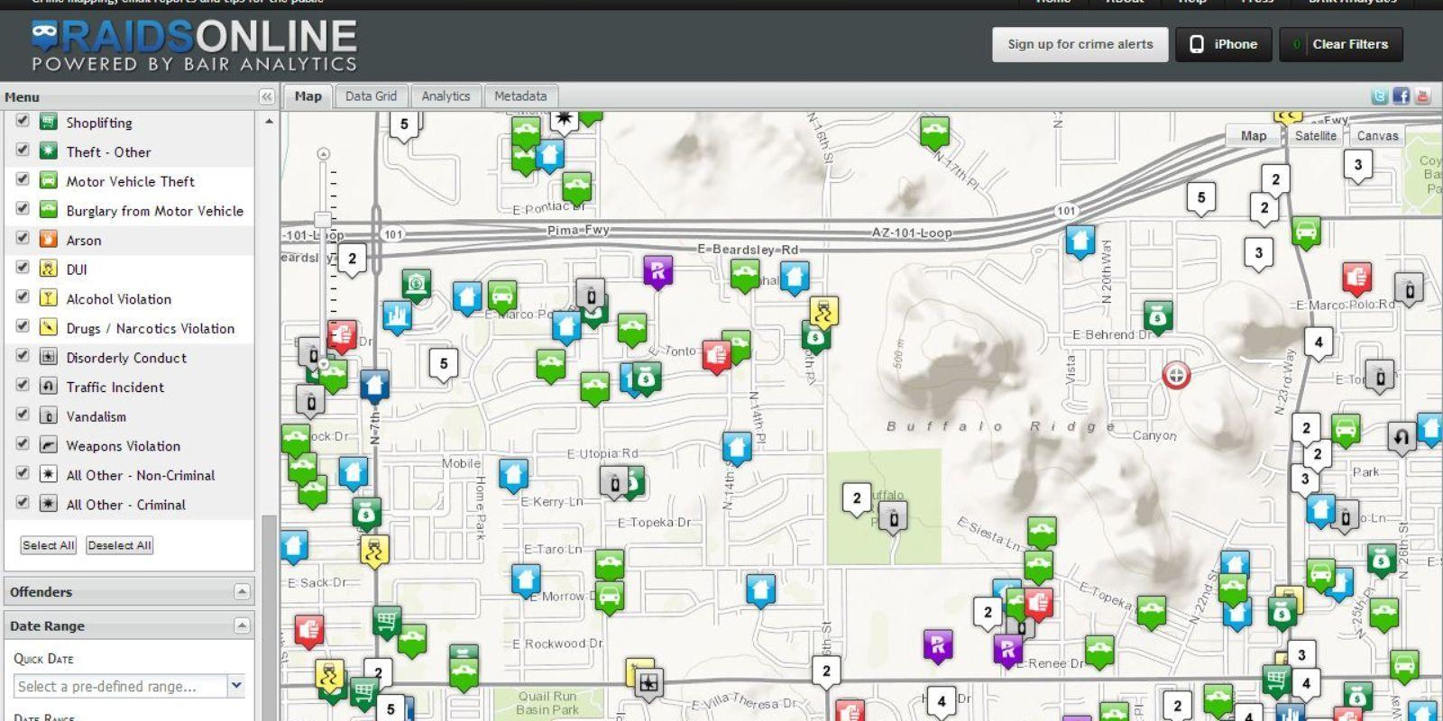 Phoenix Verbrechen anzeigen von zip-code - Crime map Phoenix Arizona ...