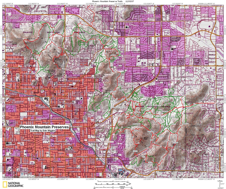 Phoenix mountain preserve anzeigen - Phoenix mountains map (Arizona ...