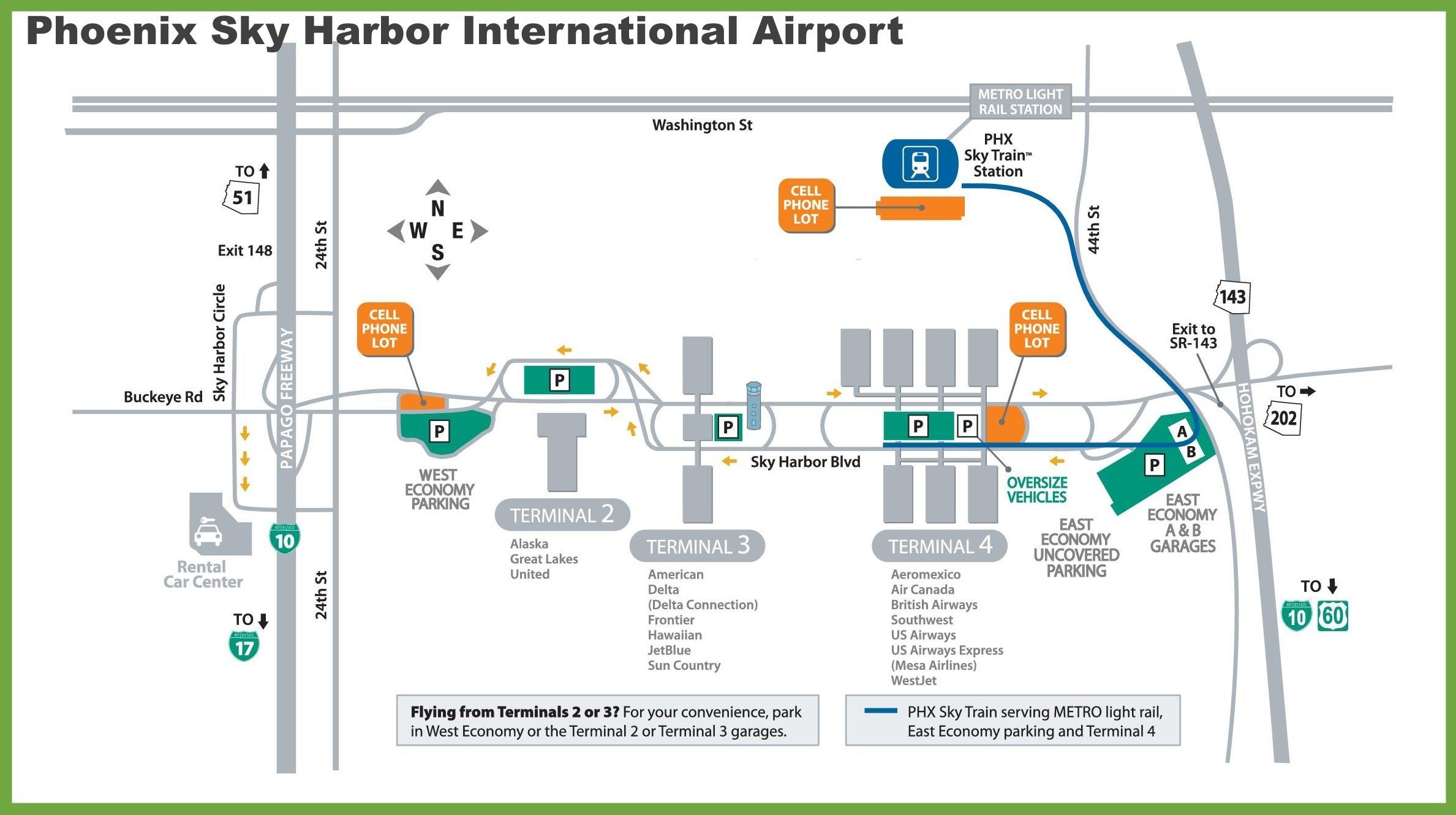 Phx airport-map - Karte von Phoenix (Arizona - USA)