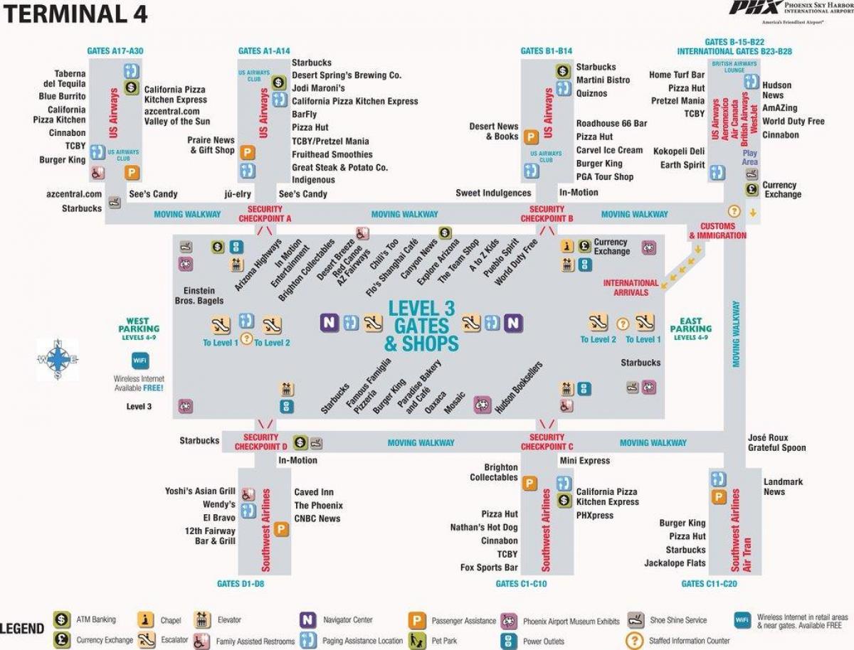 Phoenix-airport terminal 4-map - Phoenix-airport-Karte ...