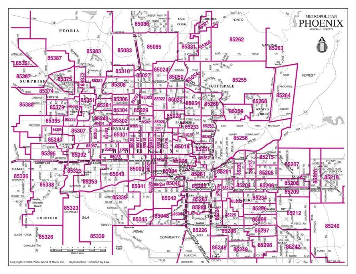 Zip code map Phoenix - Stadt Phoenix zip code map (Arizona - USA) Zip Code Map Of Phoenix on